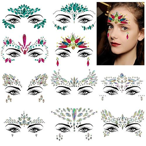Face Gems, 1 Sets Mermaid Face Jewels Festival Gems Rhinestones Rave Eyes Body Temporary Stickers Crystal Stickers Decorations