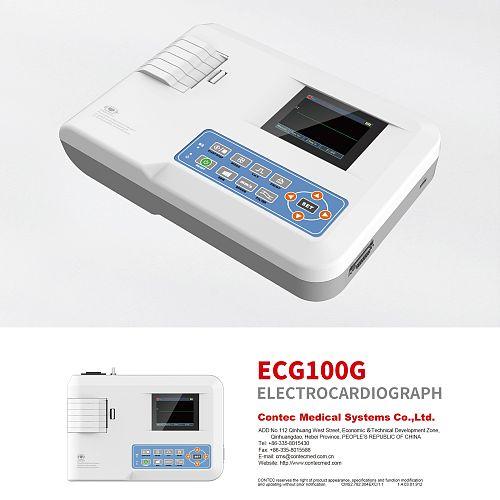 NEW CONTEC Portable ECG Machine EKG Monitor Electrocardiograph Printer ECG100G