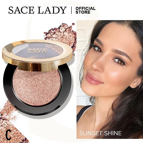 SACE LADY Highlighter Powder Glitter Palette Makeup Glow Face Shimmer Illuminator Make Up Highlight Pallete Cosmetics Wholesale
