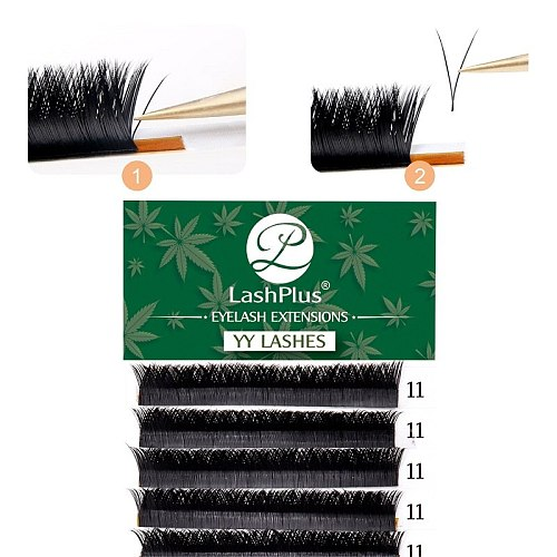 LASHPLUS YY Black 12Rows premade fans eyelash extensions for salon individual eyelash extensions for wholesale price OEM
