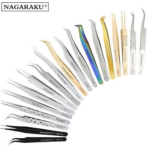 NAGARAKU Eyelash Extension Tweezers False Eyelashes Makeup Stainless Steel Professional Tweezer 3D Accurate Pincet