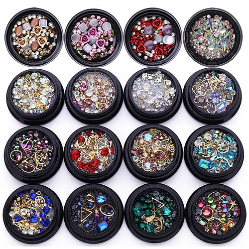 3D Nail Art Rhinestones Metal Rivet Beads Studs Mixed Size Nail Art Decoration Accessories Nail Stones Decors DIY Tips