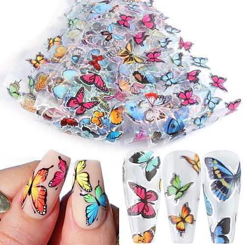 10pcs Butterfly Nail Foils Holographic Stickers for Nails Art Decals Sliders Transfer Paper Wraps Manicure 3D Decorations TR8102
