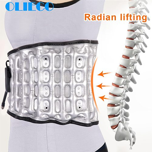 OLIECO Waist Air Traction Brace Belt Spinal Lumbar Correction Pain Relief Support Heat Therapy Physio Decompression Traction