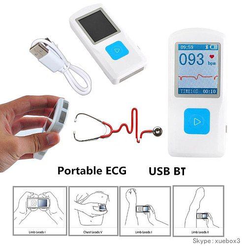Contec Portable ECG EKG Machine Handheld Color Screen ECG Monitor Heart Machine BT USB Charging PC Software Home Use Health Care