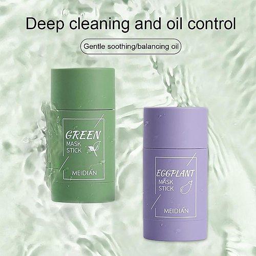 Green Tea Oil Control Eggplant Acne Cleansing Mask Skin Care Moisturizing Remove Blackhead Fine Pores Mud Mask Face Care