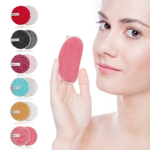 Reusable Makeup Remover Microfiber Cloth Pads Remover Towel Face Cleansing Cleaner Plush Make up Lazy Cleansing Powder Puff