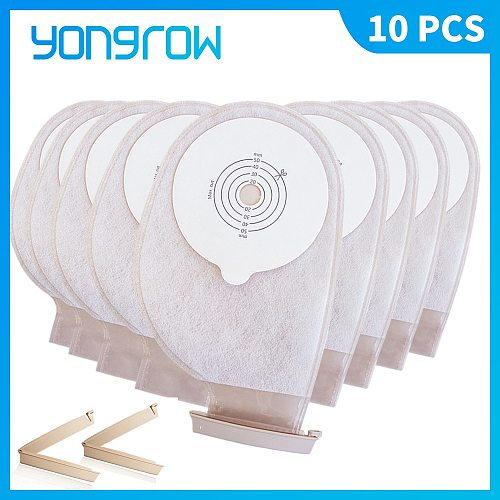 Yongrow 10 PCS One-piece System Ostomy Bag Drainable Colostomy Bag Pouch Ostomy Stoma Cut Size Beige Cover Urine bag