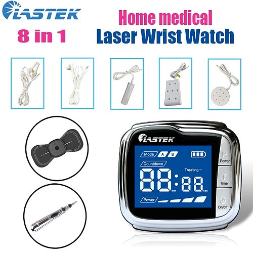 LASTEK 8 in 1 Home Care Kit 3R Laser Watch Therapy Device + 5 Treatment Accessories + Acupuncture Pen + Cervical Massage Sticker