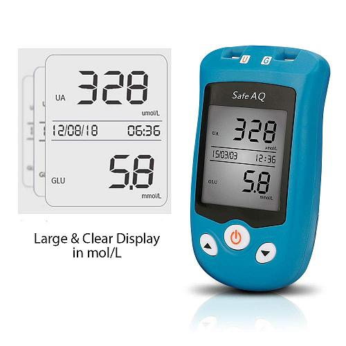 Multi-packages! Sinocare Safe AQ UG MG/DL Blood Glucose & Uric Acid Meter and Glucose / Uric Strips for Diabetes Gout Glucometer