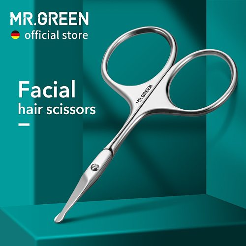 MR.GREEN Facial Hair Scissors Rounded Professional Stainless Steel Mustache Nose Hair Beard Eyebrows Eyelashes Trimming Clippers