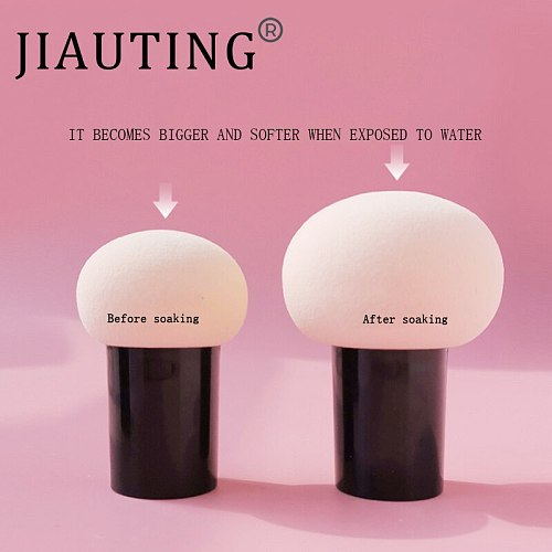 JIAUTING Makeup Sponge Cosmetic Puff with Handle Puff For Foundation Concealer Cream Powder Puff Smooth Women's Makeup 1Pc
