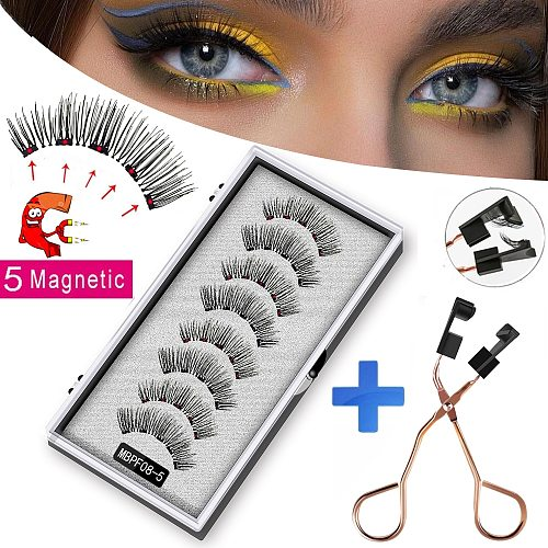 MB 8pcs 5 Magnet Magnetic Eyelashes 3D Mink false eye lashes reusable natural Magnetic lashes with faux cils magnetique tweezers