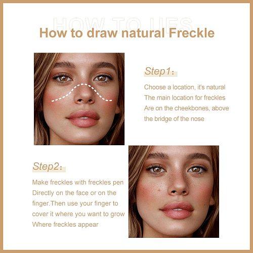 Pudaier Natural Freckle Pen Popular Makeup Embellishment Pen Spots Fake Makeup Pen Waterproof Durable Cosmetics Dot Spot Pen