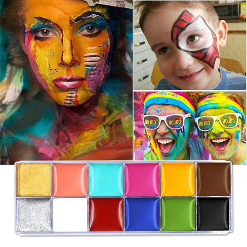 12 in 1 Face Body Paint Art Fancy Dress Beauty Makeup Play Palette Party Pigment Halloween Oil Painting Art Beauty Makeup Tool