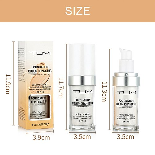 TLM 30ML Color Changing Foundation Makeup Base Liquid Cover Concealer Longlasting Makeup Sombras Skin Care Foundation TSLM2