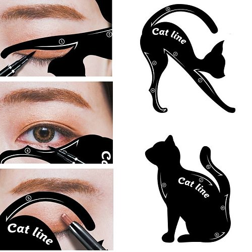 2 Pcs Eyeliner Makeup Stencil Cat Line Smokey Eye Makeup Eyeliner Models Card Eyebrow Template Model Eyebrow Guide Makeup Tools
