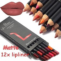 Brand 12 Colors Lip Liner Pencil Nude Matte Lipliner Moisturizing Waterproof Long Lasting Lipstick Liner Professional Makeup Kit