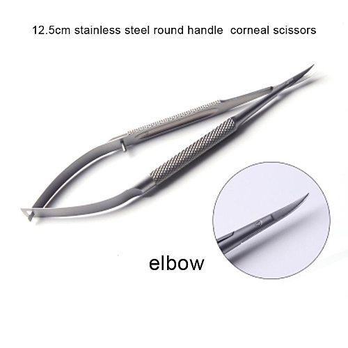 12.5cm stainless steel round handle elbow corneal scissors