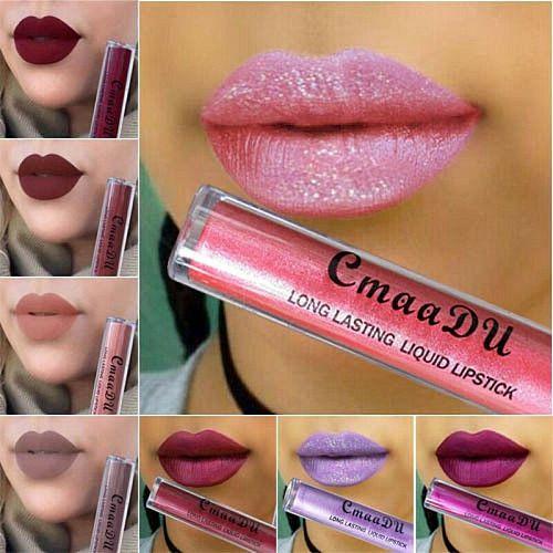Hot Waterproof Skull Matte Liquid Lipstick Long Lasting Sexy Red Glitter Metallic Lip Gloss Lip Tint Stick Lipgloss Makeup Tools