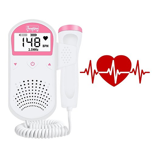 Digital Portable Fetal Doppler Monitor Ultrasound Baby Heart Rate Detector Pocket Pregnant Doppler LCD Display Nonradiative