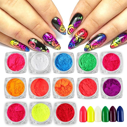 5Pcs/Set  Neon Powder Eyeshadow Pigment Matte Mineral Spangle Nail Powder Cosmetics Set Make Up Shimmer Shining Eye Shadow LEK