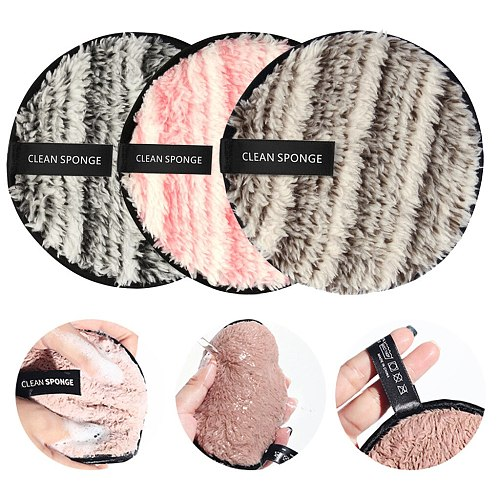 MAANGE Microfiber Cloth Pads Remover Towel Double Sided Face Cleansing makeup sponge 3pcs container make up  powder puff LD