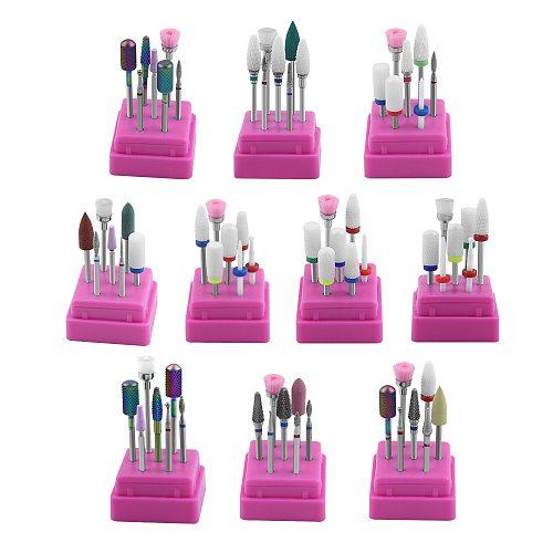 7 Pcs Ceramic Diamond Nail Drill Bits Set Milling Cutter Manicure Machine Nail Accessories Electric Nail Files Nail Art Tools