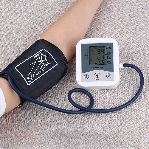Portable Blood Pressure Monitor Household Sphygmomanometer Arm Band Type Digital Electronic Mini Blood Pressure Meter Tonometer