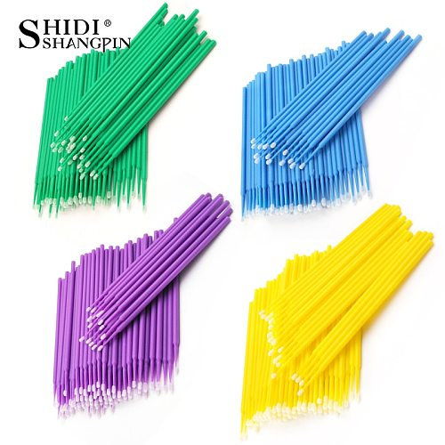 100pcs/bag Durable Micro Disposable Eyelash Extension Makeup Brushes Individual Applicators Mascara Removing Tools Swabs