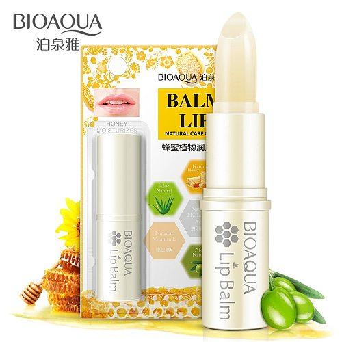 BIOAQUA Pure Natural Honey Aloe Lip Balm Moisturizing Colorless Refine Repair Lip Wrinkles Winter Lip Skin Care