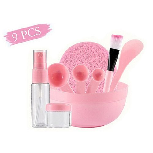 9 Pcs/Set DIY Facial Mask Tools Kit Bowl Brush Spoon Stick Bottle Sponge Top Quality Homemade Makeup Beauty Tool