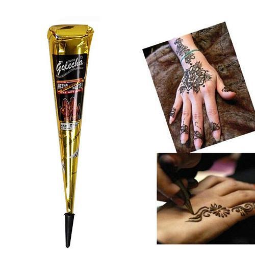 Hot Sale 1pc Black Waterproof Body Paint Indian Henna Paste Temporary Tattoo Hena Art Cream Cone For Stencil Mehndi Body Art
