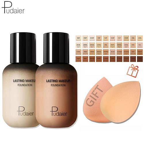 Pudaier 40 Colors Liquid Foundation Cream For Face Concealer Matte Female Makeup Base Waterproof Long Lasting Facial Cosmetics