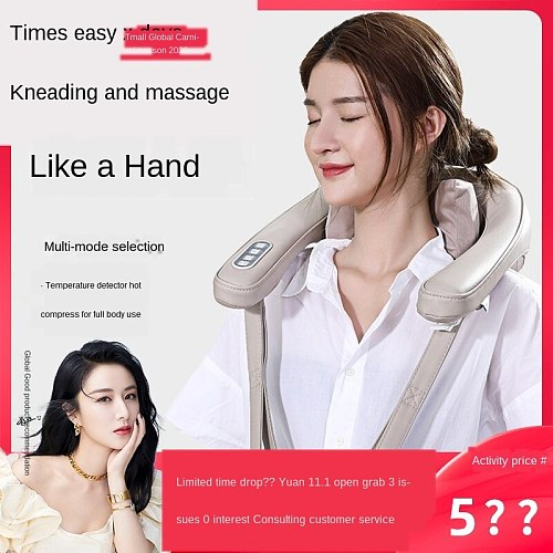 Prevent hand grasping massage pillow one key operation kneading neck shoulder removable washable contact cotton physiotherapy