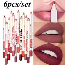 6Pcs/set Cosmetic Professional Wood Lipliner Waterproof Lady Charming Lip Liner Soft Pencil Contour Makeup Lipstick Tool