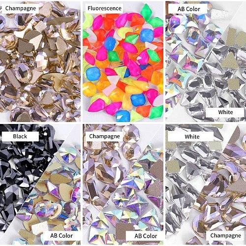 Mixed 100pcs Crystal AB Nail Art Rhinestones Flatback Strass Shiny Glass Nail Stones Gems For 3D Nails DIY Manicure Decorations