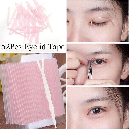 52pcs invisible double eyelid tape magic eyelid stickers double sided strip adhesive fiber Stretch objects for eye Makeup Tools