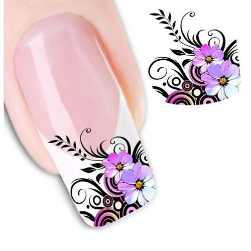 1 sheet Beauty Purple Flower Water Transfer Nail Sticker Nail Art Decals DIY Decorations Manicure Sliders Tip Tool LASTZ022-1