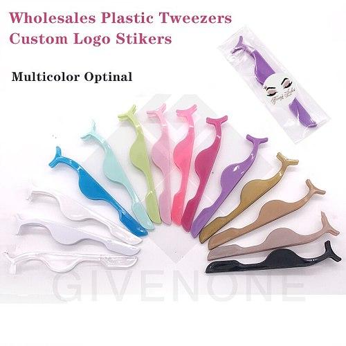 Plastic Eyelashes Tweezers Wholesale Colorful False Eyelash Applicator Lashes Makeup Tools Lash Cleaning Tool Custom Logo