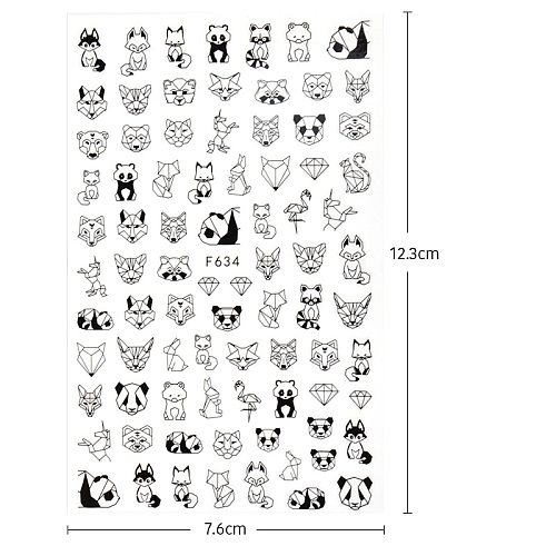 1PC 12.3*7.6cm 3D Black White Nail Art Stickers Abstract Geometric Animal Panda Leaf Flower Nail Decal Manicure Decorations Tips