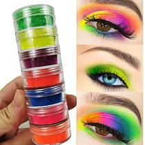 6 Colors/Set Neon Pigment Eyeshadow Powder Luminous Matte Mineral Sequin Nail Makeup Shimmer Shining Eye Shadow For Party TSLM1