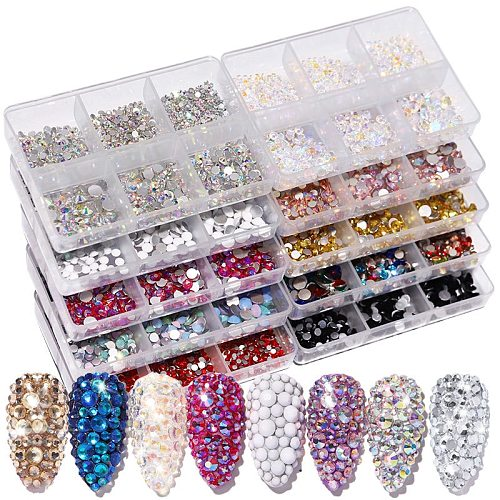 New Box Packing Crytsals Kinds Of Color Nail Rhinestone  Flat Bottom Multi-size Crystals Nail Art 3D Decoration Strass Gem