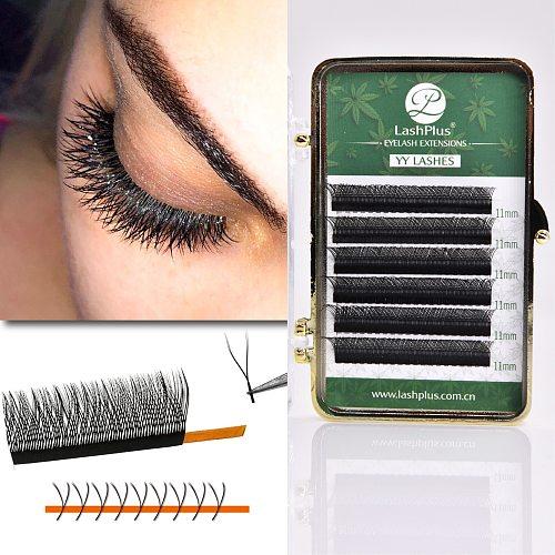 YY Shape CC Curl Lashes Double Tip Eyelash Extension Wholesale Premade Volume Fan YY False Mink Individual Makeup Grafting Lash