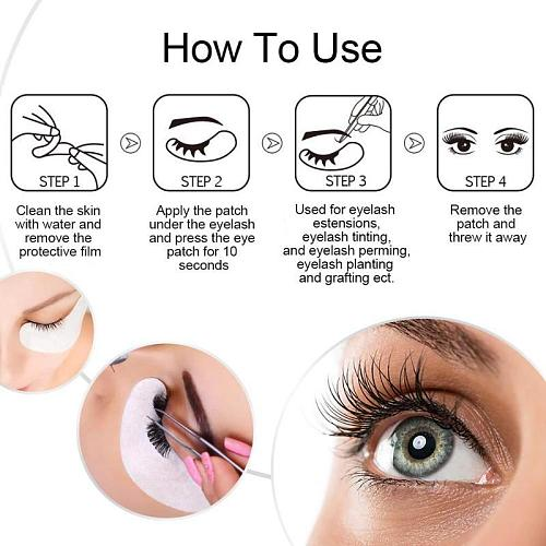 20/80Pairs Eyelash Extension Paper Patches Under Eye Pads Eye Extension Lint Free Grafting Eyelashes Lash Supplies Too