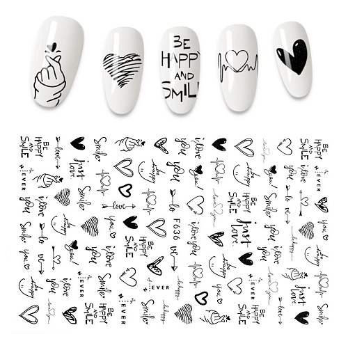 The New 3D Nail Sticker Cool English Letter stickers for nail  Foil Love Heart Design  Fashion Manicure Stickers
