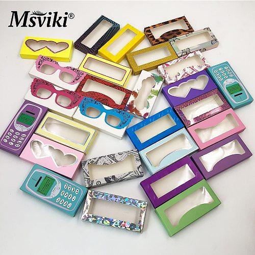 100 Pcs Eyelash Packaging Box Bulk Wholesale Custom 3D Mink Lashes Boxes Packaging With Logo Makeup Set Eyelashes Case Pack