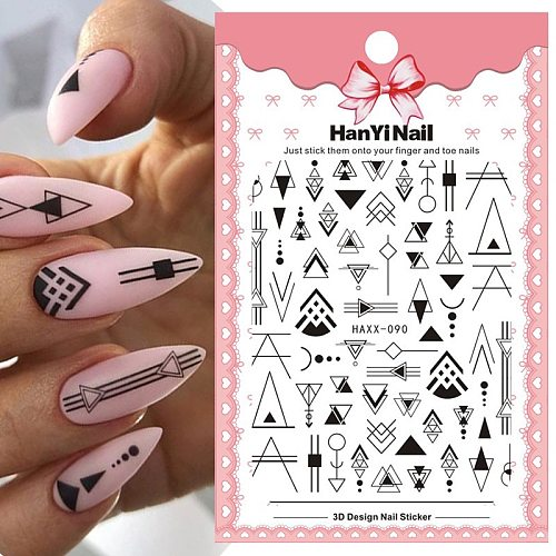 3D Nail Stickers Mixed Floral Geometric Nail Art Adhensive Transfer Decals Flowers Tattoos Sliders Manicuring Decoration Tip