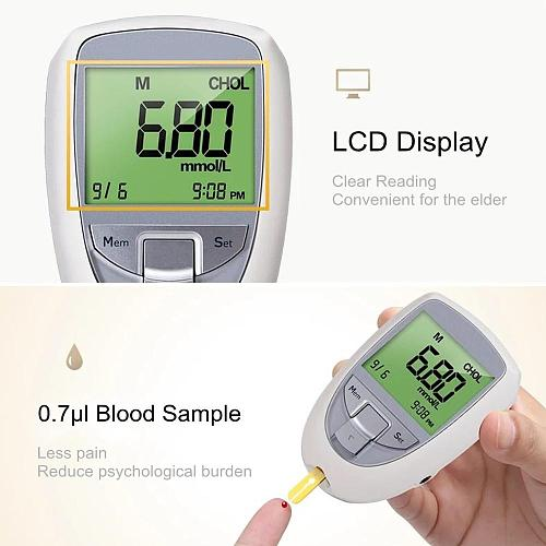 BeneCheck 3in1 Blood Glucose&Uric Acid&Cholesterol Meter Household Glucometer Kit Diabetes Gout Tester Monitor Device&Test Strip