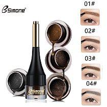BSIMONE 4 Colors Eyebrow Tattoo Cream Natural Enhancer Air Cushion Henna Eyebrow Cream Tint Makeup Waterproof with Brush TSLM2